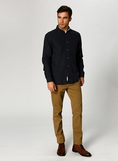 Jack & Jones Jack & Jones Solid Long Sleeved 12140408 Düğmeli Yaka Uzun Kol Pamuk Erkek Gömlek Lacivert